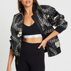 Nike Gold Chain Printed Satin Bomber Jacket
